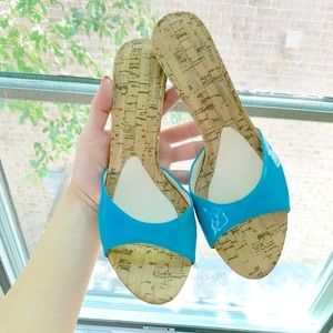 Patent Blue Slip On Heels!